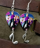 R5 Group Picture Guitar Pick Earrings with Music Note Charm Dangles