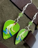 R5 Rocky Lynch Guitar Pick Earrings with Green Swarovski Crystals