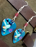 R5 Riker Lynch Guitar Pick Earrings with Pink Swarovski Crystals