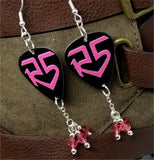 R5 Logo On Black Guitar Pick Earrings with Pink Swarovski Crystal Dangles
