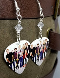R5 Group Picture Guitar Pick Earrings with Clear Swarovski Crystals