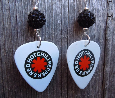 Red Hot Chili Peppers White Guitar Pick Earrings with Black Pave Beads
