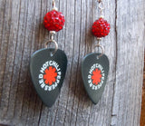 Red Hot Chili Peppers Black Guitar Pick Earrings with Red Pave Beads