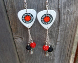 Red Hot Chili Peppers Guitar Pick Earrings with Pave and Microphone Charm Dangles