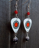 White Red Hot Chili Peppers Guitar Pick Earrings with Black Ombre and Red Pave Beads