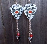Red Hot Chili Peppers Blood Sugar Sex Magik Guitar Pick Earrings with Swarovski Crystal Dangles