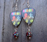 Red Hot Chili Peppers Guitar Pick Earrings with MultiColor Pave Bead Dangles
