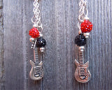 Red Hot Chili Peppers Guitar Pick Earrings with Pave and Guitar Charm Dangles
