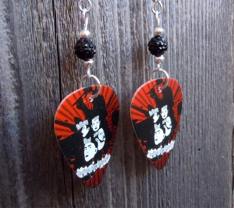 Red and Black Red Hot Chili Peppers Guitar Pick Earrings with Black Pave Beads