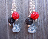 Red Hot Chili Peppers Guitar Pick Earrings with Pave Bead and Silver Charm Dangles