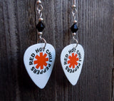 Red Hot Chili Peppers Guitar Pick Earrings with Black Swarovski Crystals