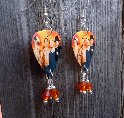 Red Hot Chili Peppers Group Picture Guitar Pick Earrings with Orange Swarovski Crystals