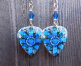 Red Hot Chili Peppers Guitar Pick Earrings with Blue Swarovski Crystals