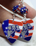 Angry Republican Symbol Elephant Guitar Pick Earrings with American Flag Pave Beads