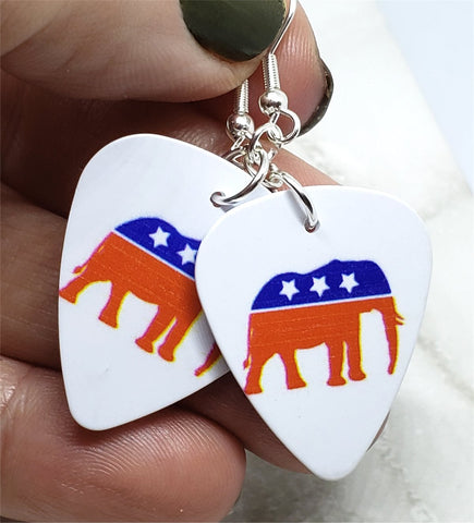 Republican Symbol Elephant Guitar Pick Earrings