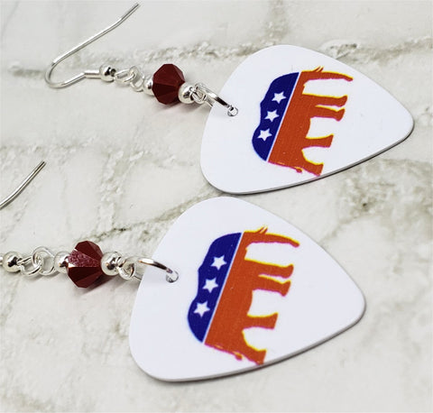Republican Symbol Elephant Guitar Pick Earrings with Red Swarovski Crystals