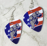 Angry Republican Symbol Elephant Guitar Pick Earrings