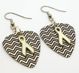 White Ribbon Charm Guitar Pick Earrings - Pick Your Color