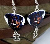 Rottweiler Guitar Pick Earrings with Bone Charm Dangle