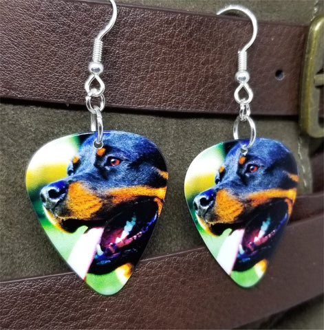 Rottweiler Guitar Pick Earrings