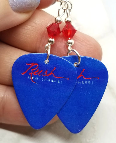 Rush Hemispheres Guitar Pick Earrings with Red Swarovski Crystals