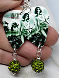 Rush Permanent Waves Guitar Pick Earrings with Green Pave Bead Dangles