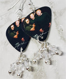 Rush Group Picture Guitar Pick Earrings with Clear Swarovski Crystal Dangles