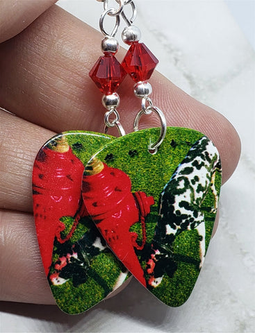 Rush Signals Guitar Pick Earrings with Red Swarovski Crystals