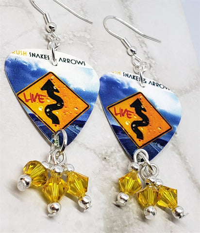 Rush Snakes and Arrows Guitar Pick Earrings with Yellow Swarovski Crystal Dangles
