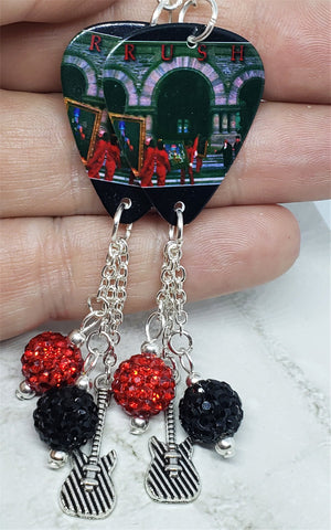 Rush Moving Pictures Guitar Pick Earrings with Charm and Pave Bead Dangles