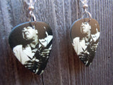 Stevie Ray Vaughn Rocking Out Guitar Pick Earrings with Clear Swarovski Crystals