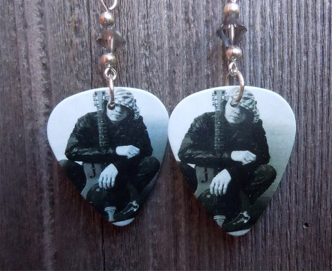 Stevie Ray Vaughn Guitar Pick Earrings with Grey Swarovski Crystals