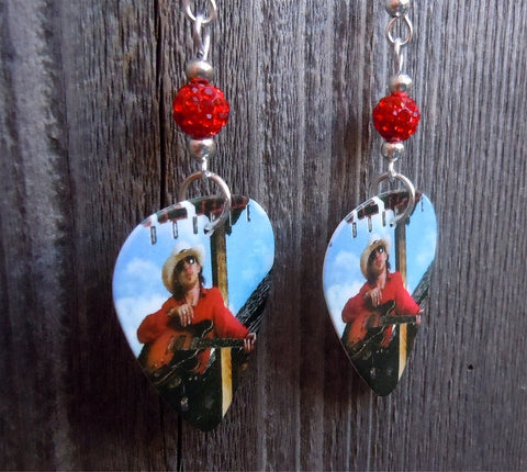 Stevie Ray Vaughn Soul to Soul Guitar Pick Earrings with Red Pave Beads