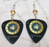 Horoscope Astrological Sign Sagittarius Guitar Pick Earrings with Metallic Sunshine Swarovski Crystals