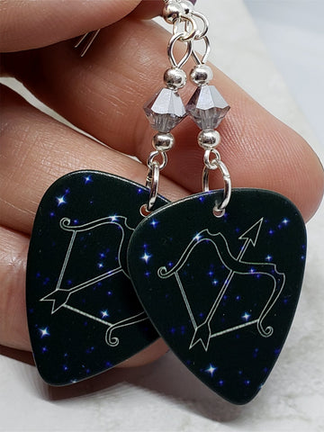 Horoscope Astrological Sign Sagittarius Guitar Pick Earrings with Metallic Silver Swarovski Crystals