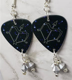 Horoscope Astrological Sign Sagittarius Guitar Pick Earrings with Metallic Silver Swarovski Crystal Dangles