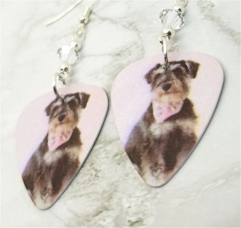 Schnauzer with a Bandanna Guitar Pick Earrings with Clear Swarovski Crystals