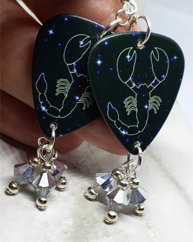 Horoscope Astrological Sign Scorpio Guitar Pick Earrings with Metallic Silver Swarovski Crystal Dangles