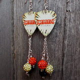 Scorpions Face the Heat Guitar Pick Earrings with Pave Bead Dangles