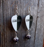 Black and White Scorpions Guitar Pick Earrings with Pave Ombre Dangles