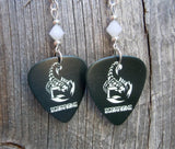 Scorpions Guitar Pick Earrings with White Swarovski Crystals