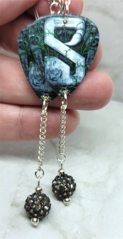 Scorpions Sting in the Tail Guitar Pick Earrings with Gray Pave Bead Dangles