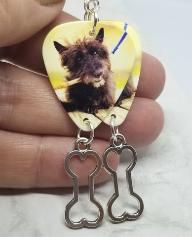 Scottie Scotty Scottish Terrier Guitar Pick Earrings with Bone Charm Dangle