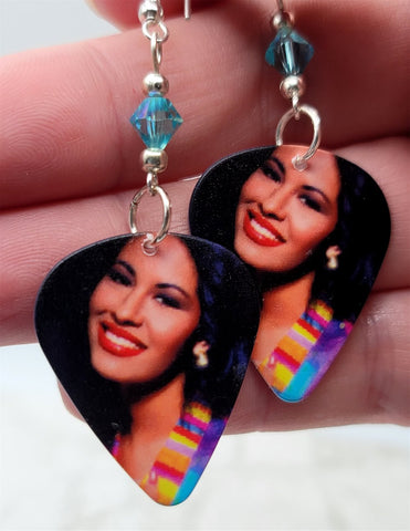 Selena Guitar Pick Earrings with Turquoise AB Swarovski Crystals