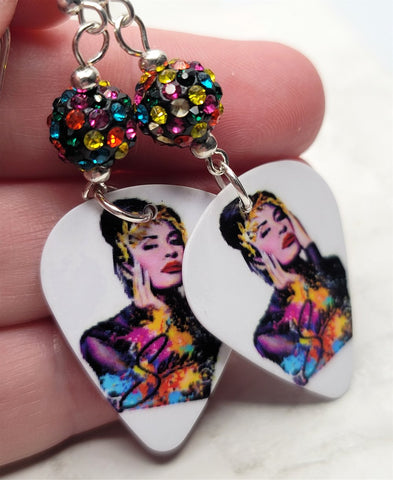 Selena Guitar Pick Earrings with MultiColor Pave Beads