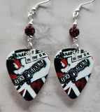 Sex Pistols Anarchy in the UK Guitar Pick Earrings with Red Pave Beads