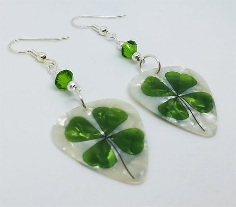 Shamrock Guitar Pick Earrings with Green Swarovski Crystals