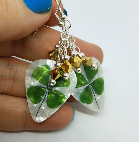 Shamrock Guitar Pick Earrings with Gold Swarovski Crystals