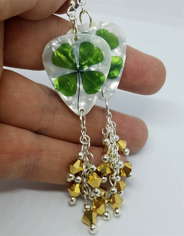 Shamrock Guitar Pick Earrings with Gold Swarovski Crystal Dangles