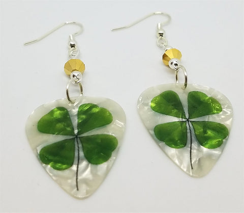 Shamrock Guitar Pick Earrings with Metallic Gold Swarovski Crystals